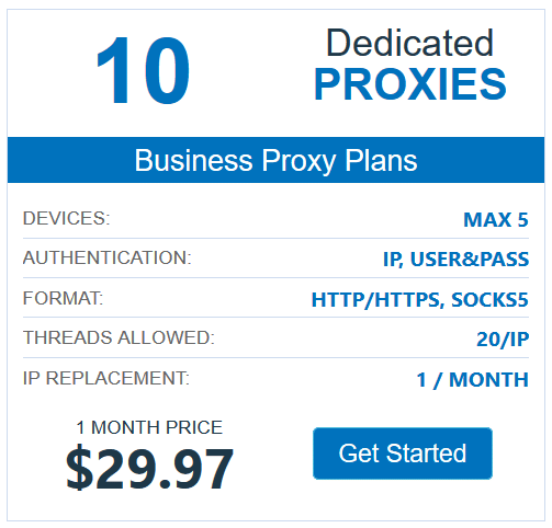 10 dedicated proxies cost $29.97