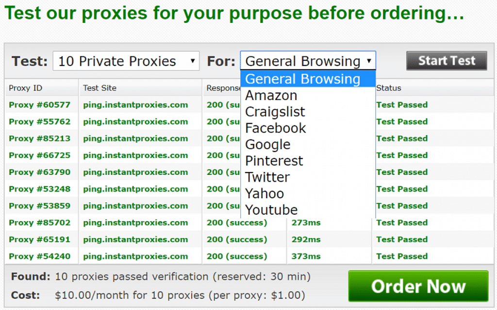 test instantProxies Now