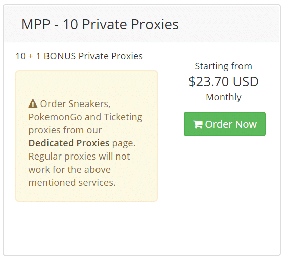 MPP - 10 Private Proxies Cost $23.70