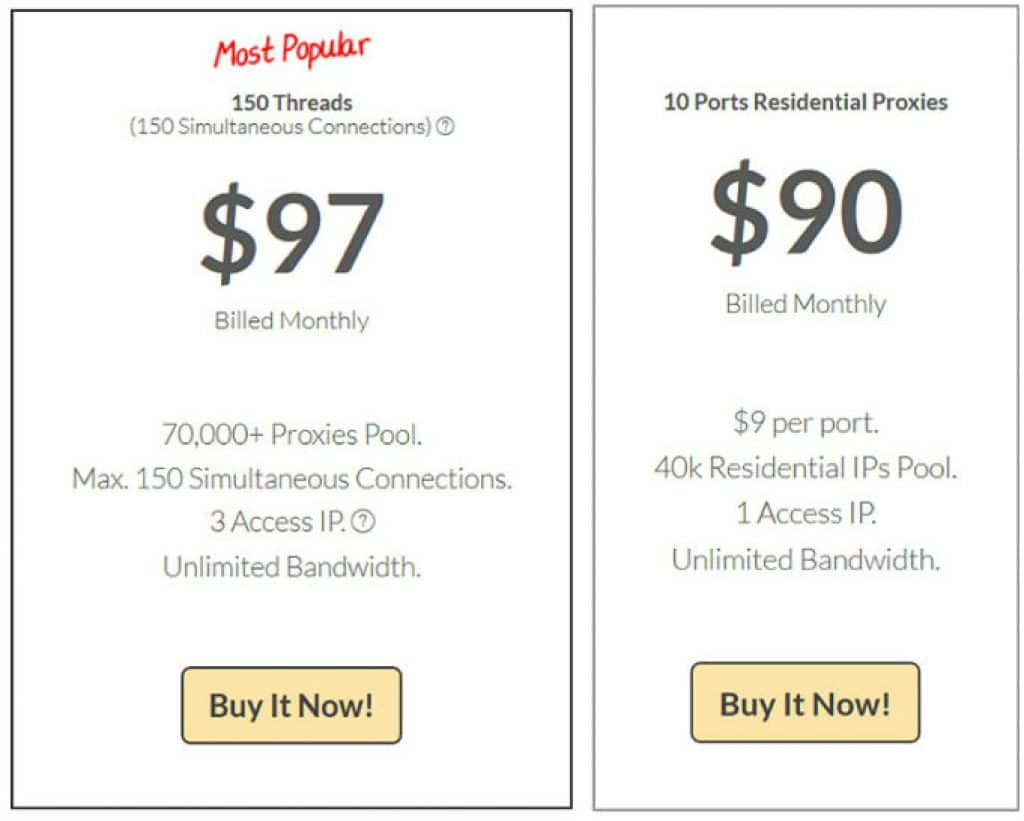Compare Price Plan on dedicated rotating proxies and Residential rotating proxies packages