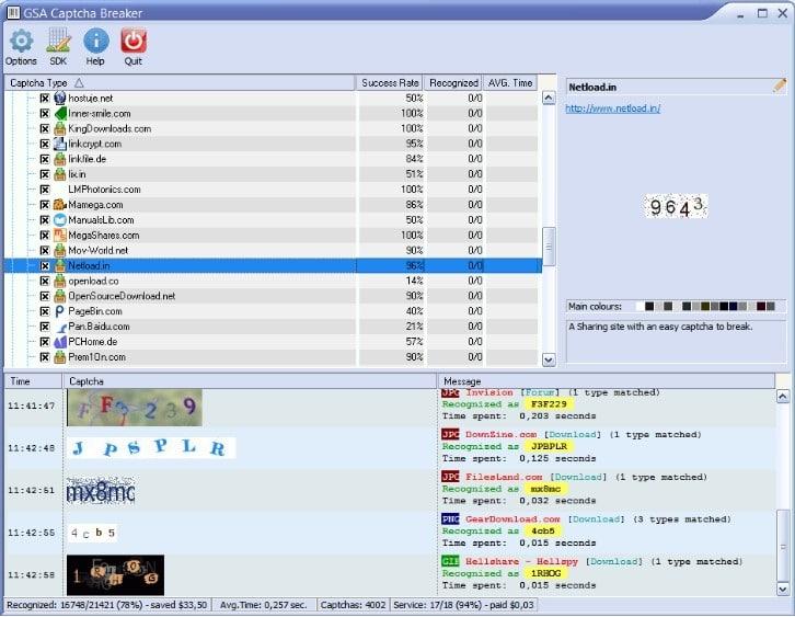 Capture d'écran de GSA Captcha Breaker