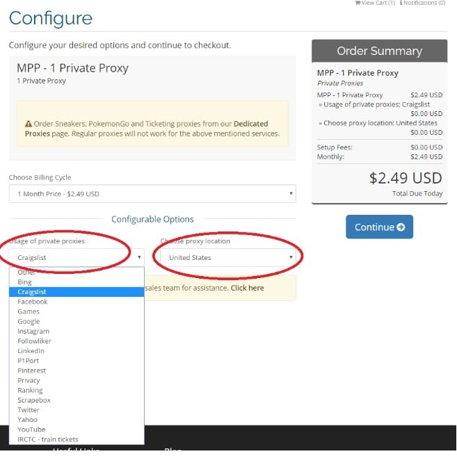 Configuration des options de Myprivateproxy