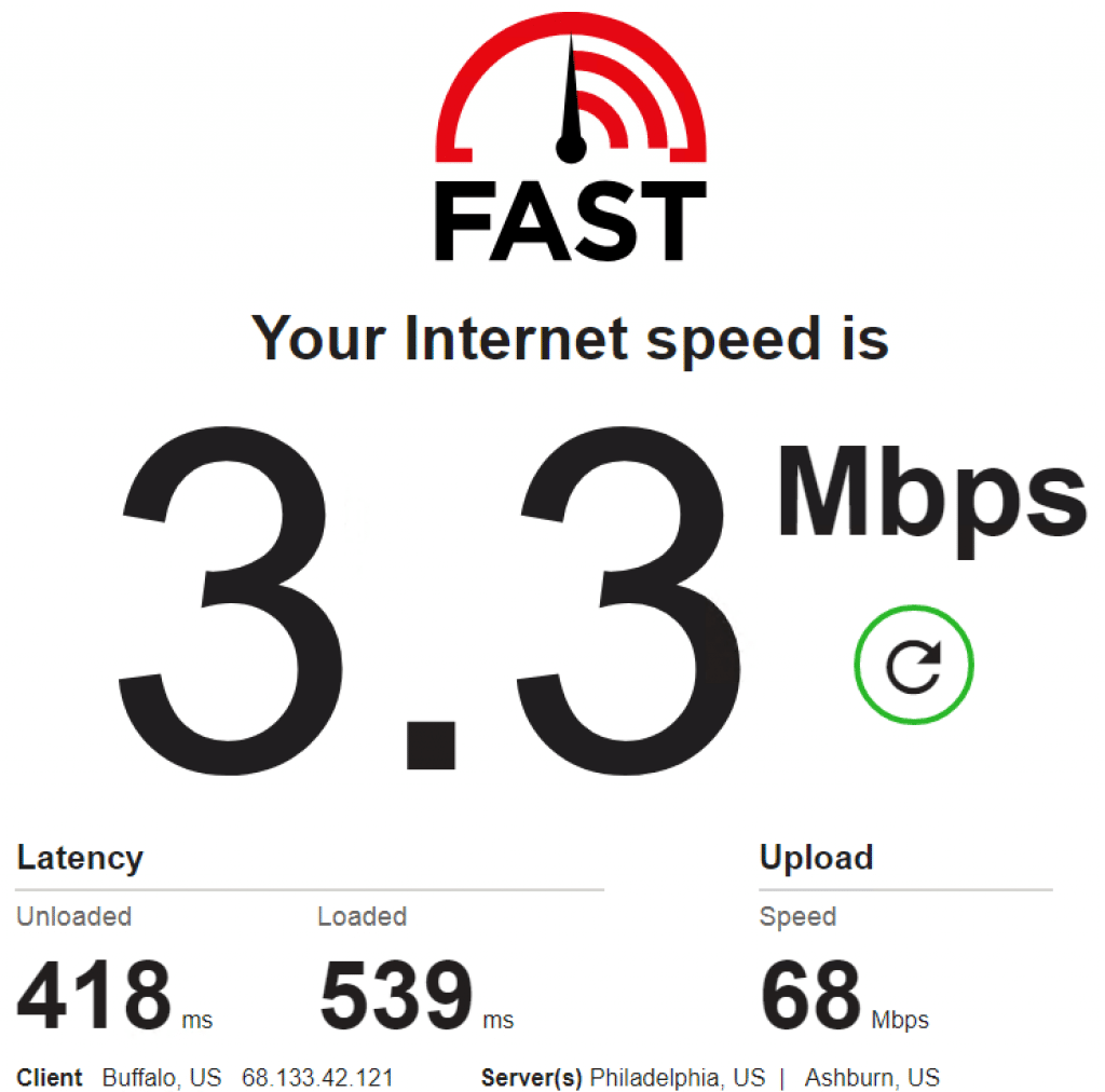 Speed test - 68.133.42.121