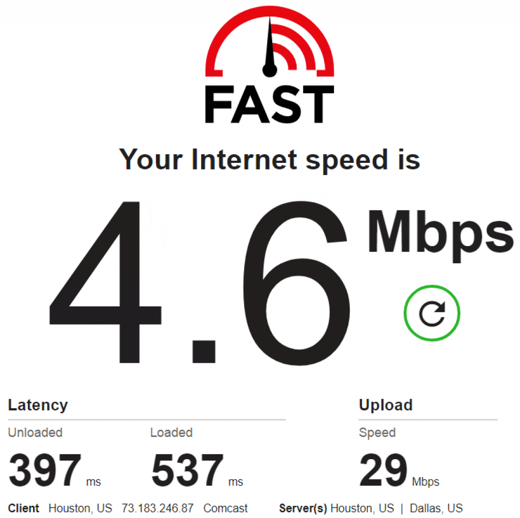speed test for 73.183.246.87