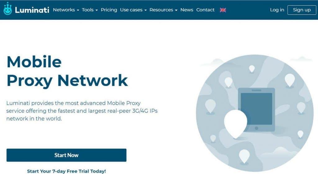Luminnati mobile proxy network