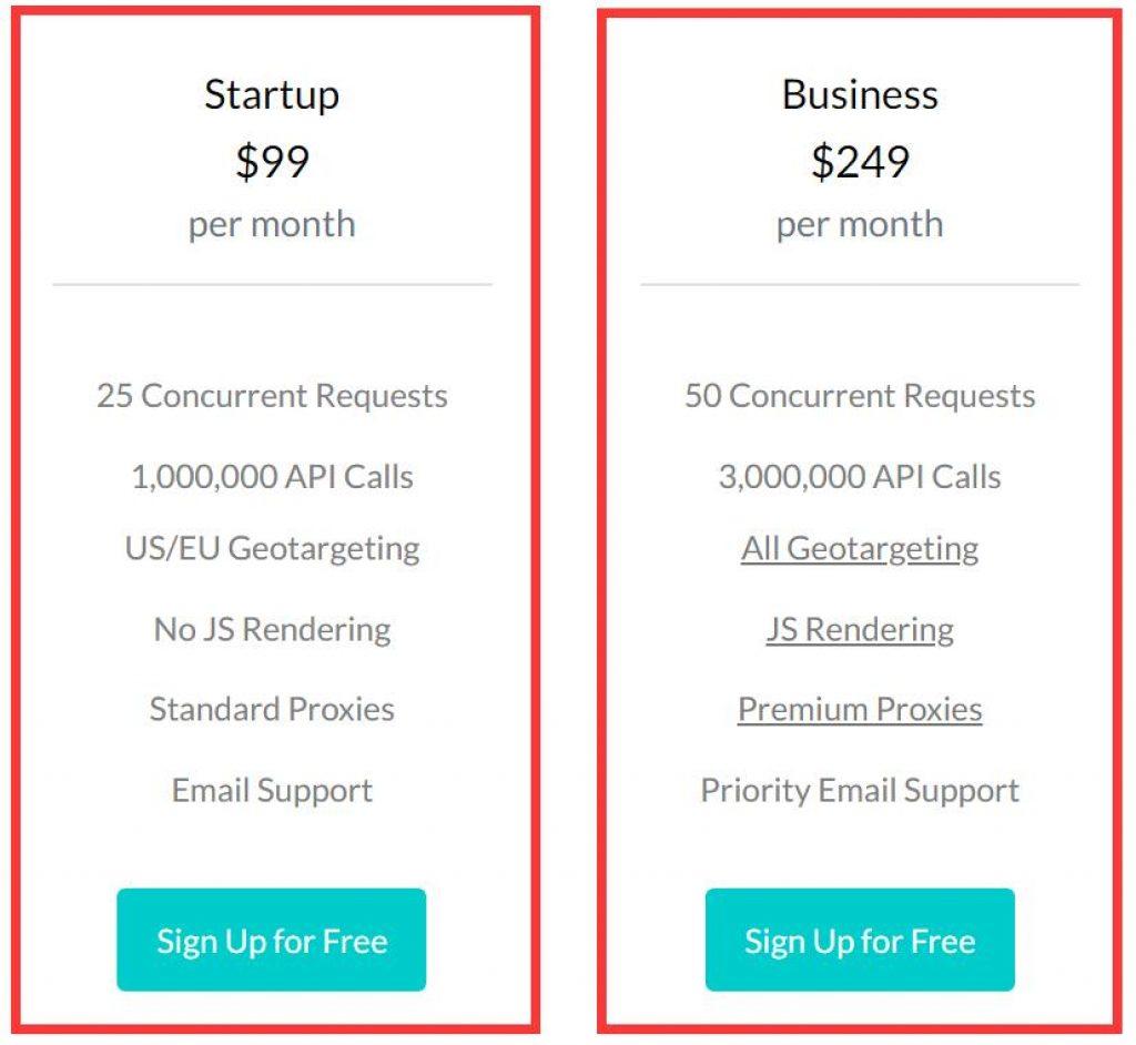 business scraper API plan