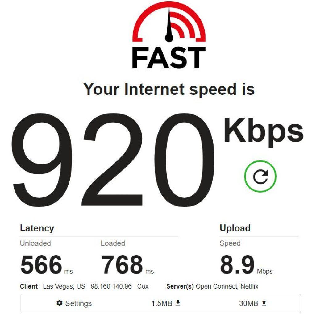 Flipnode proxy speed test on fast.com