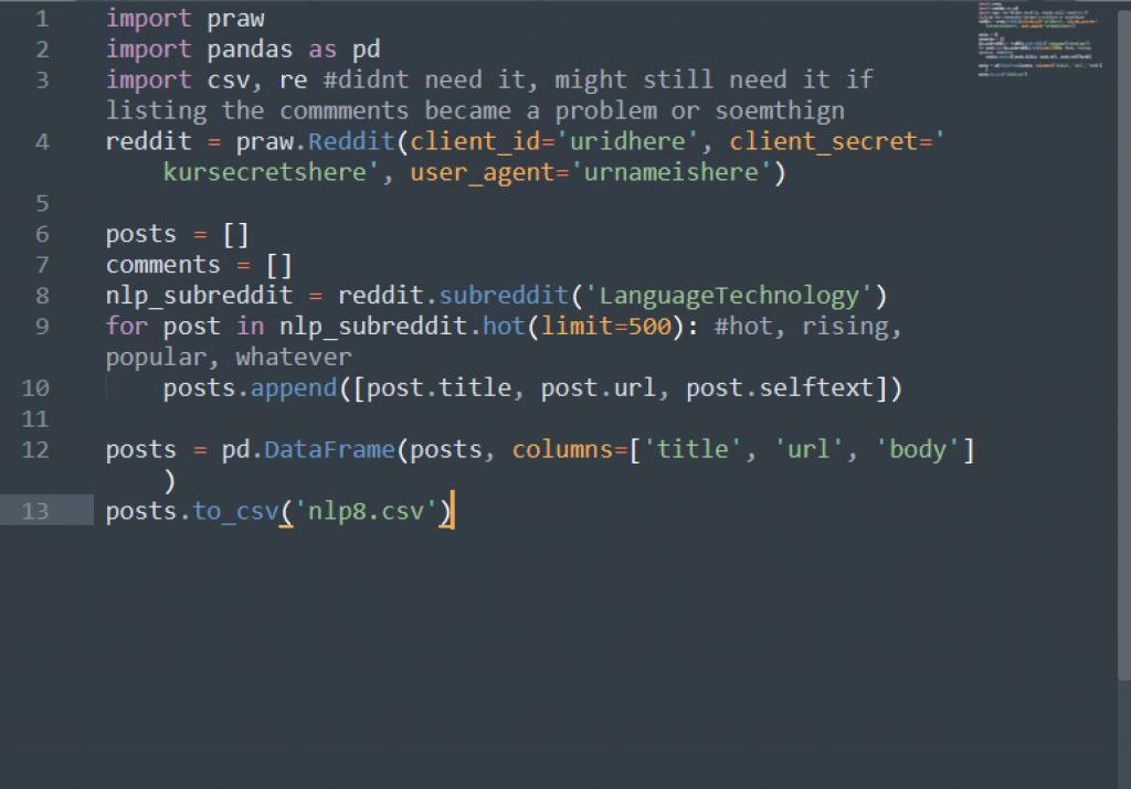 praw Reddit API key