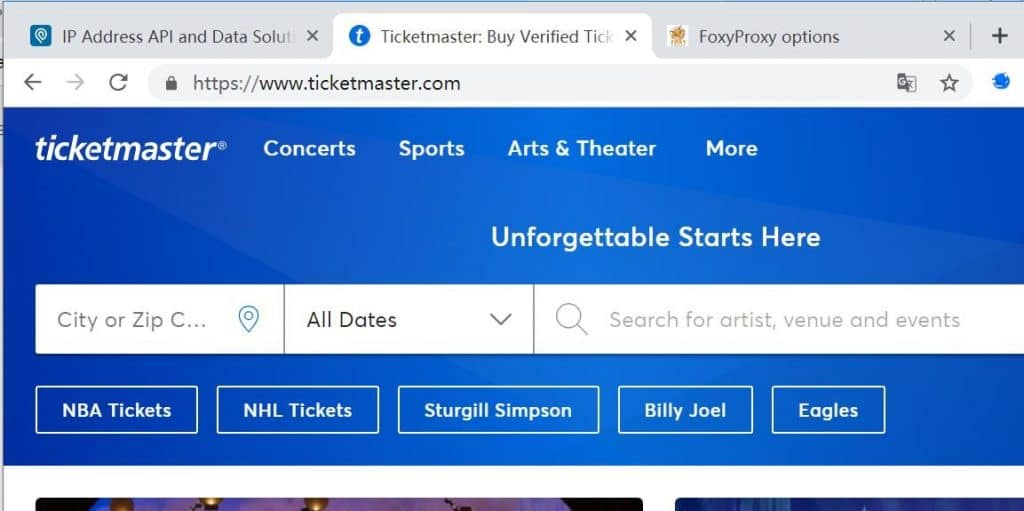 ticketmaster is working