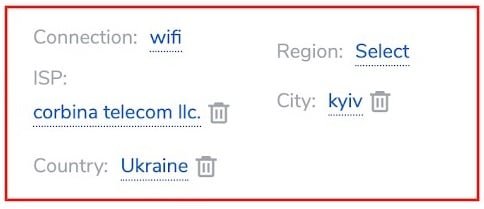 Residential Kyiv Targeting settings