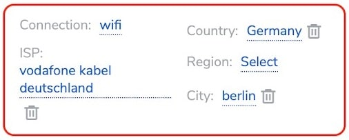 Residential Saint Petersburg Targeting settings