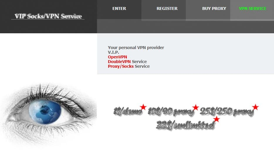 VIP72 Proxy Service homepage
