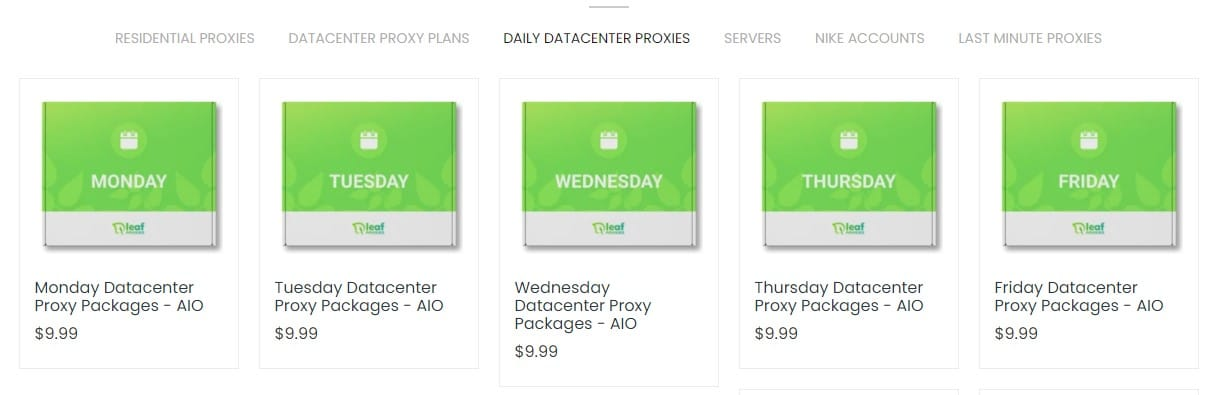 Leaf Proxies Datacenter Proxy Plans