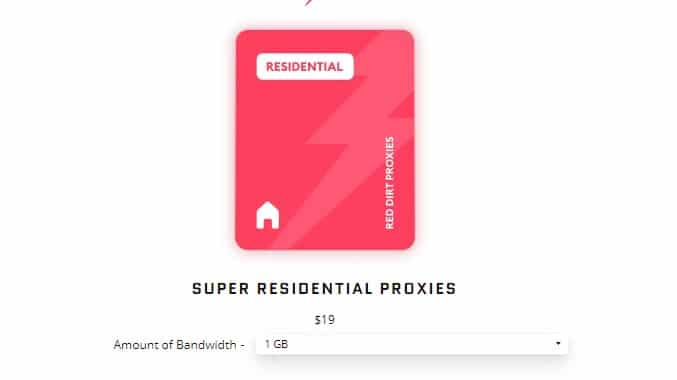 Reddirt Residential Proxy Plans