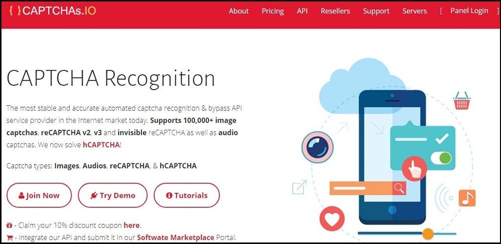Captchas dot IO Homepage