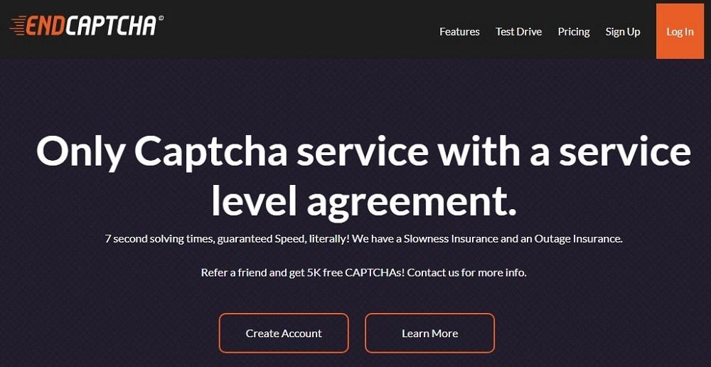 EndCaptcha Homepage