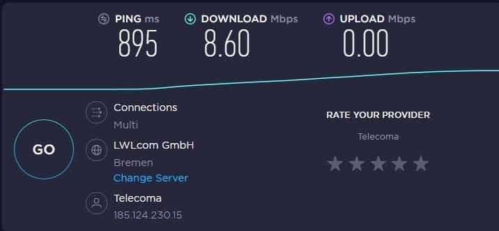 Hydraproxy speed test with proxy