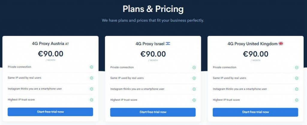 Price of The Social Proxy mobile proxies