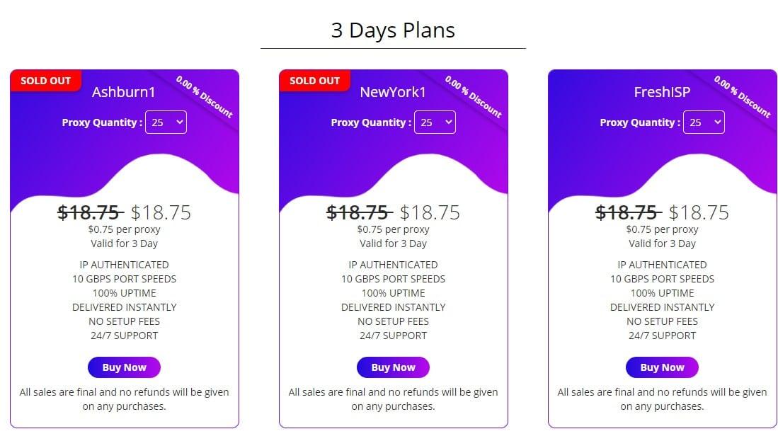 ashburnproxies 3 Days Plans